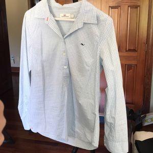 Vineyard vines half button down shirt.
